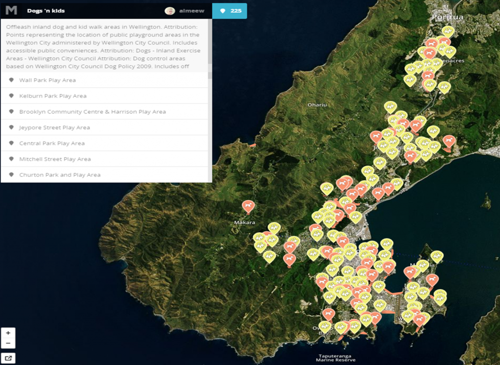 Interactive map showing dog and child friendly areas in Wellington, NZ.