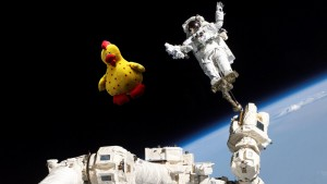 The Varicella Chicken doing an EVA. Photoshop by Theo Brandt.