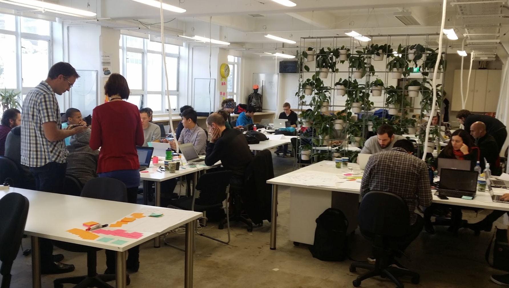 Startup teams hard at work on Sunday afternoon.