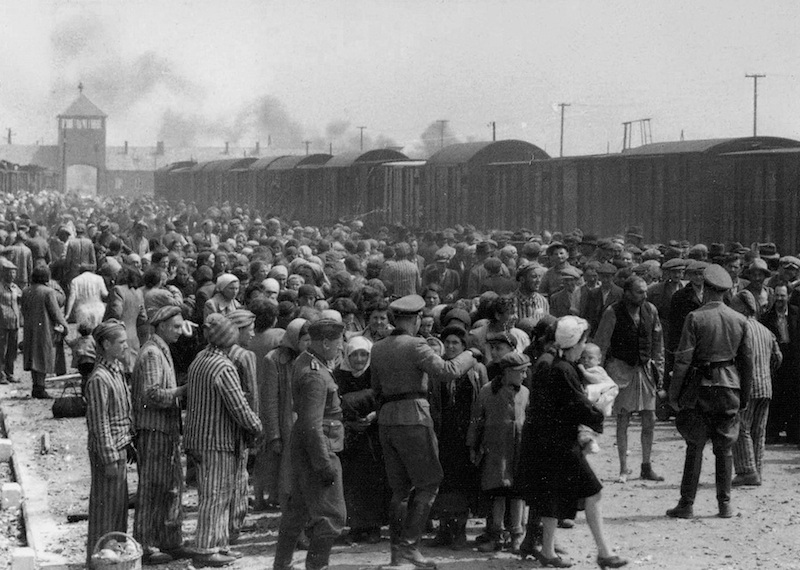 """Selection"" of Hungarian Jews on the ramp at the death camp Auschwitz-II (Birkenau) Source: Yad Vashem. The album was donated to Yad Vashem by Lili Jacob, a survivor, who found it in the Mittelbau-Dora concentration camp in 1945. Several sources believe the photographer to have been Ernst Hoffmann or Bernhard Walter of the SS. Public domain."