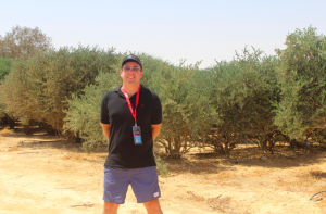 The author in front of a test crop of olive trees