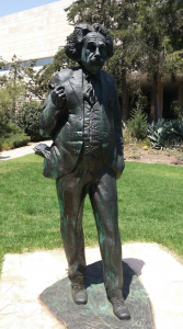 Albert Einstein ponders the grounds of the institution he co-founded in 1918 - Hebrew University