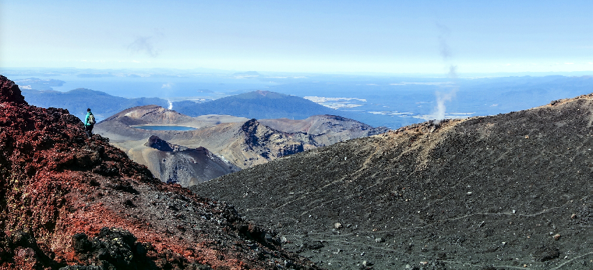 Taken from Mount Ngauruhoe, Tongariro National Park. Lake Taupo is in the far background. Credit: Piet Verburg