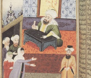 An unhappy wife is complaining to the Kaddi about her husband's impotence. Her evidence is a zibik (dildo)
