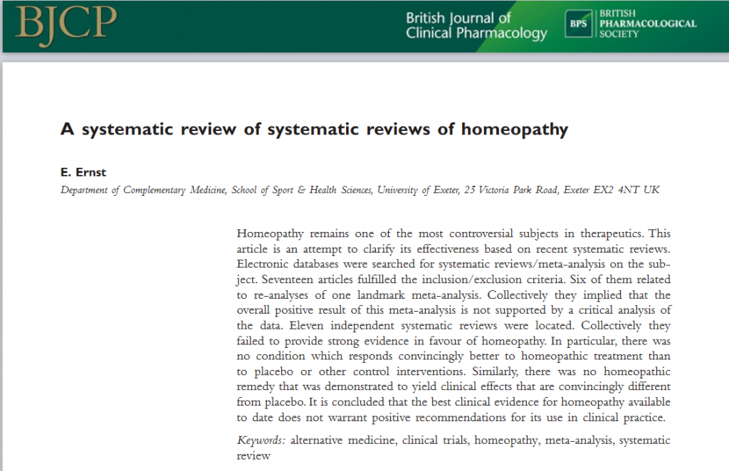 Reveiw of homeopathy
