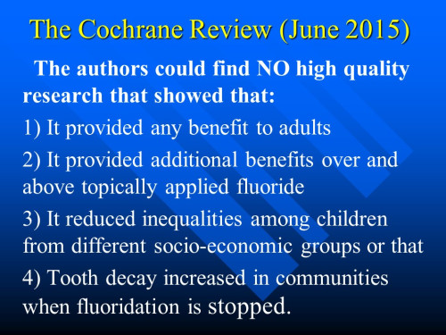 Slide on Cochrane Review from Paul Connett's presentation
