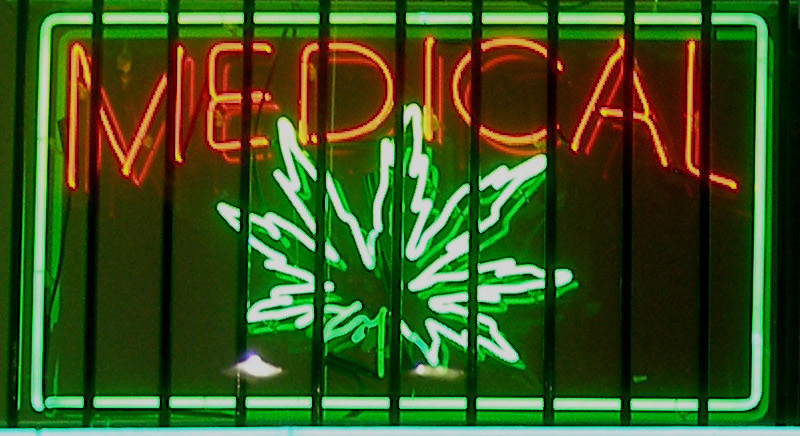 Medical marijuana neon sign at a dispensary on Ventura Boulevard in the San Fernando Valley—Los Angeles, California. Wikimedia /  Laurie Avocado.