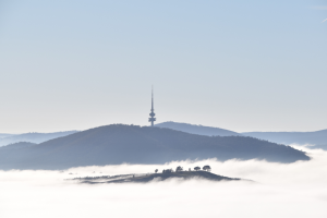 A foggy morning in Canberra from Mt. Stromlo.