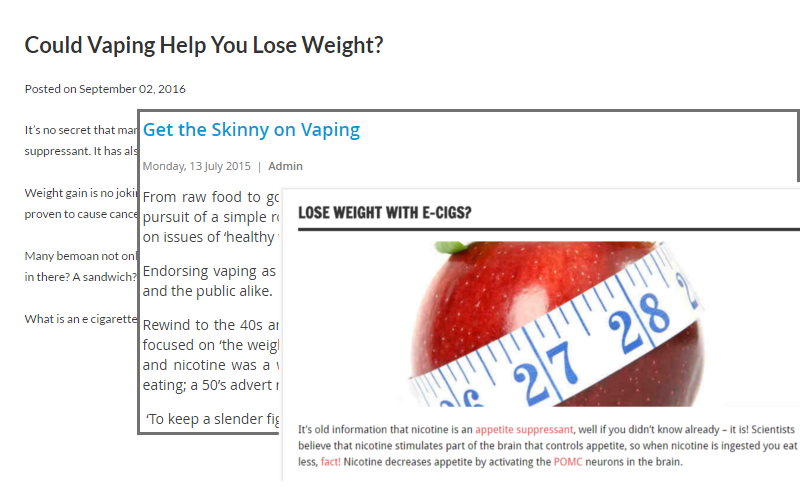 Examples of websites highlighting vaping's weight loss potential. From: GoSmokeFree, co.uk, VapourLites.com and VaporizingTimes.com