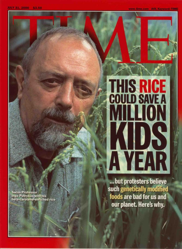 Golden rice featured on the cover of TIME in 2000. A decade and half later, it is still 'in development'.