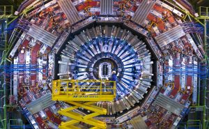 The colossal CMS instrument of the LHC under construction. The CMS is used for tracking particle pathways.