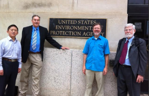 Three of the paper's authors – Quanyong Xiang (1st Left), Paul Connett (2nd Left) and Bill Hirzy (far right) – preparing to bother the EPA.