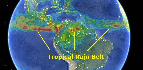 tropical rain belt - shifting due to pollution?