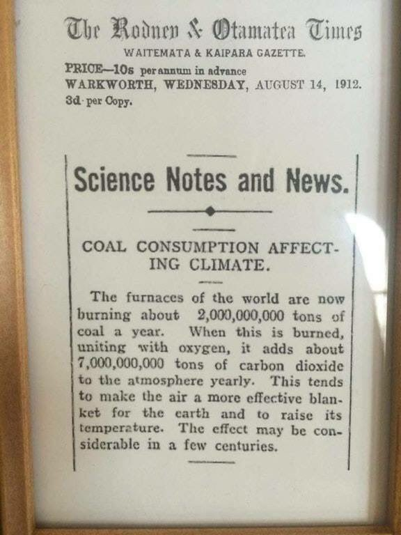 Featured image: Newspaper warns of human-induced climate change in 1912