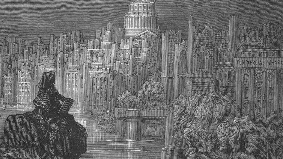 "Detail from Gustave Doré. ""The New Zealander"" in London: a pilgrimage, Blanchard Jerrold (ed). London: Grant & Co., 1872"