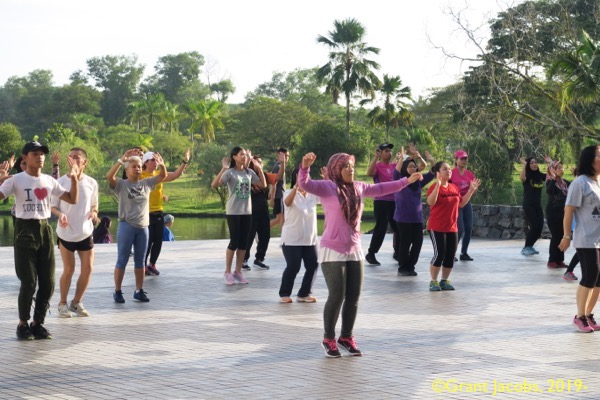 Evening aerobics in the Sarawak State library atrium. ©Grant Jacobs, 2019-.