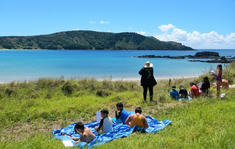 Students and teachers learning at Maitai Bay