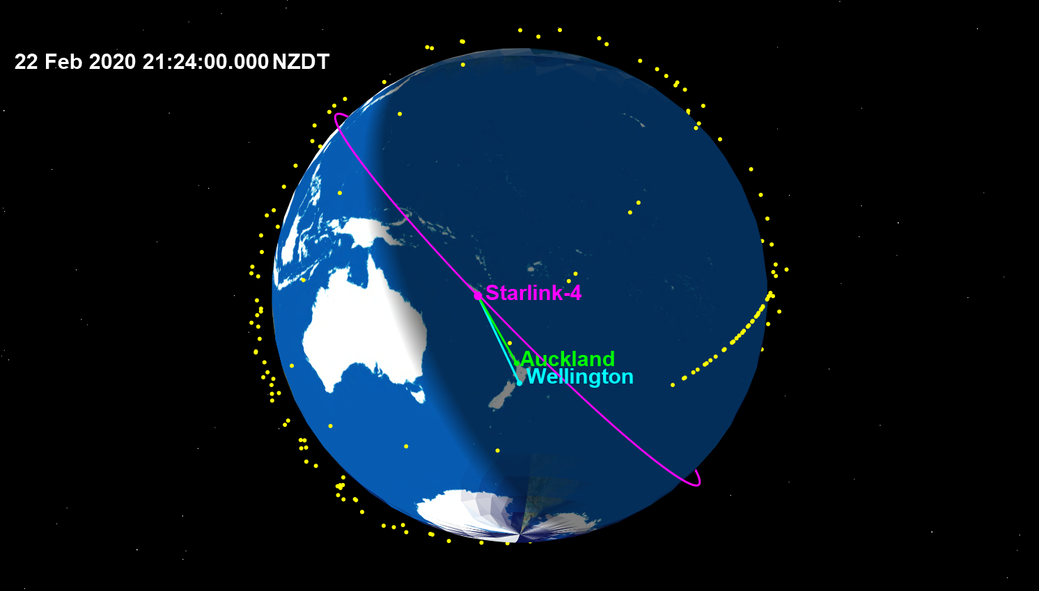 Featured image: New launch of 60 SpaceX satellites crossing NZ